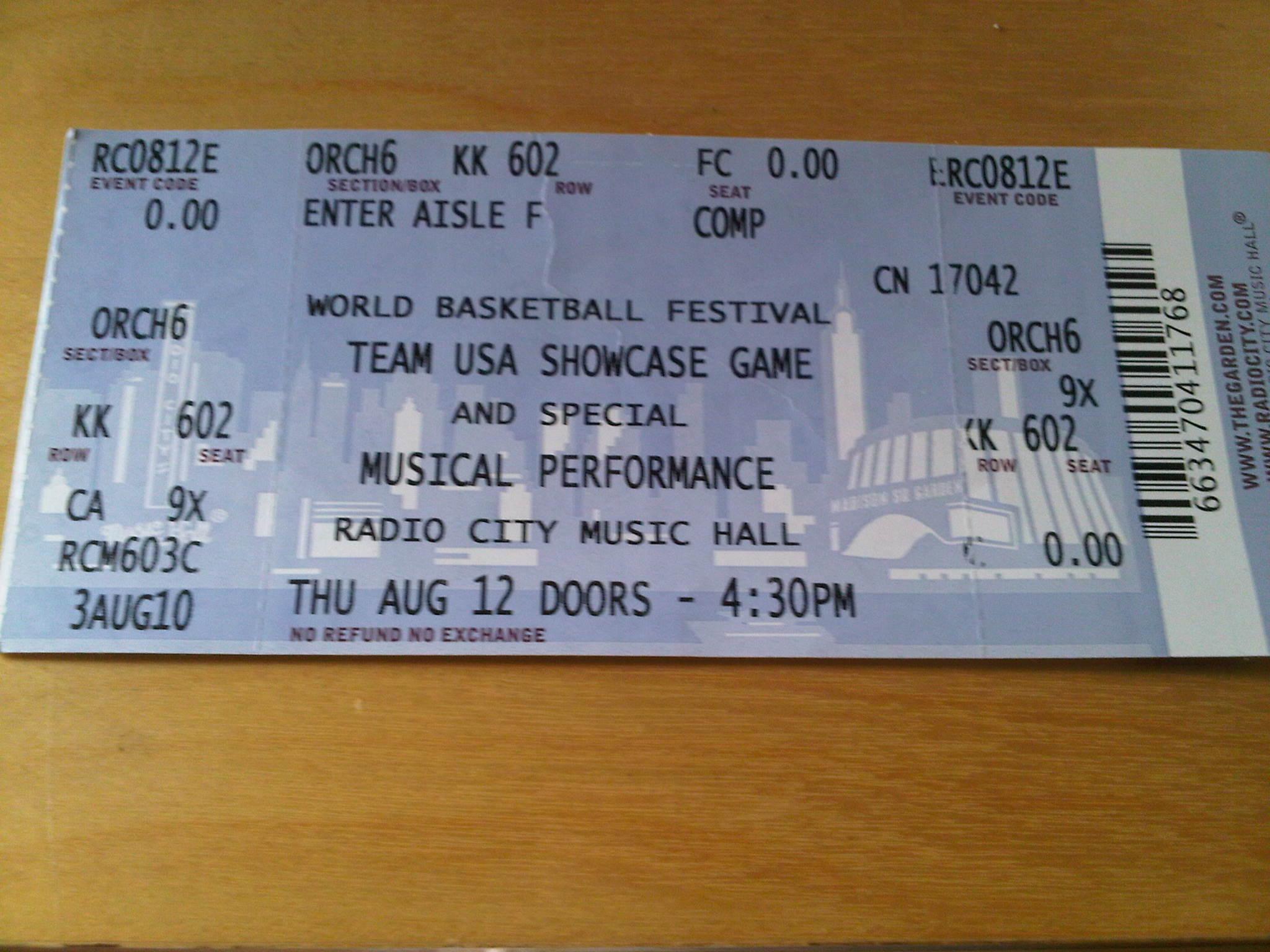 Radio City Hall Ticket On Site