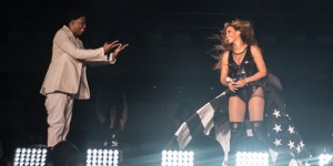 Jay-Z and Beyonce perform on stage together during the first stop of the On the Run Tour, Miami