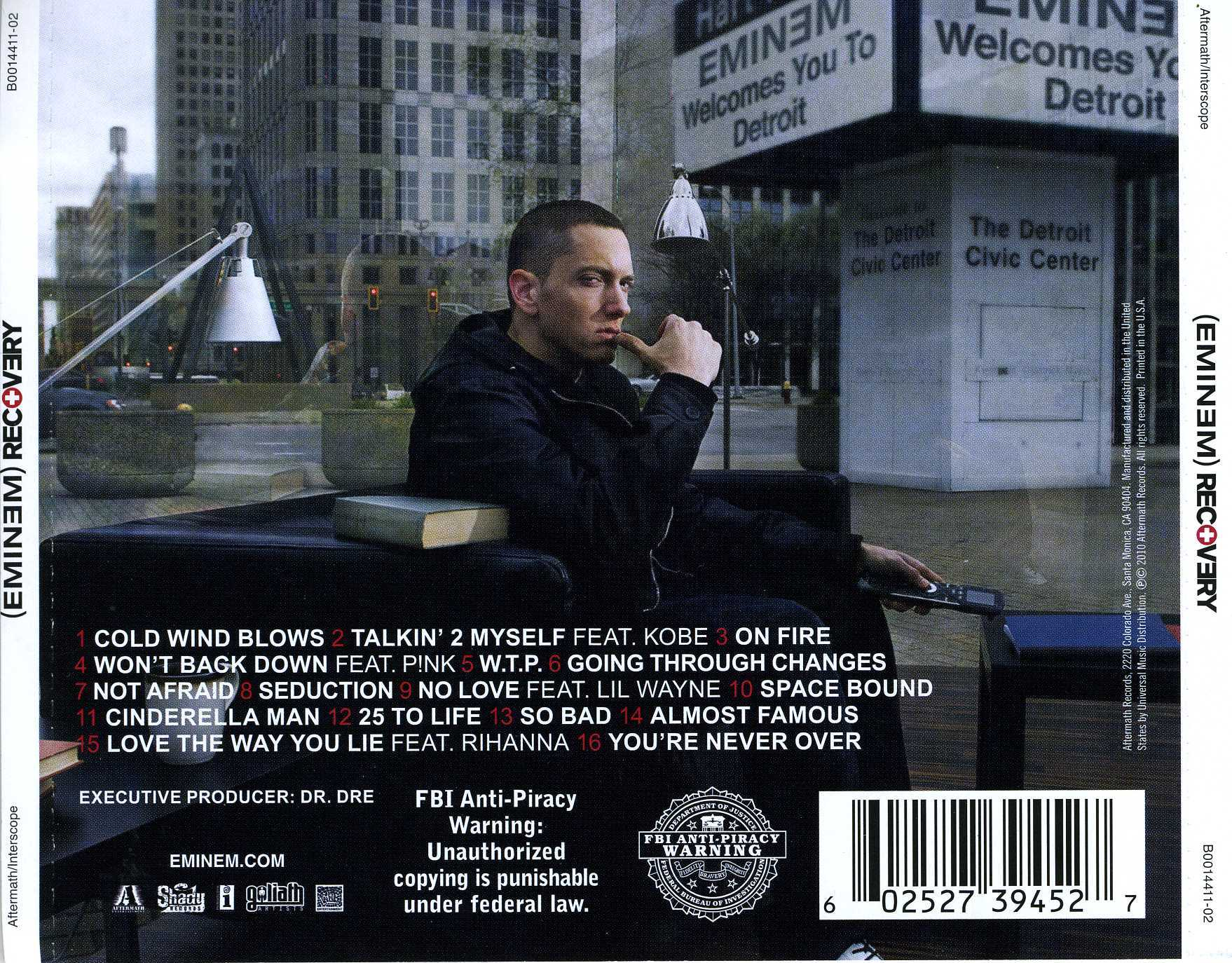 Eminem Recovery Back Cover | Rap Radar